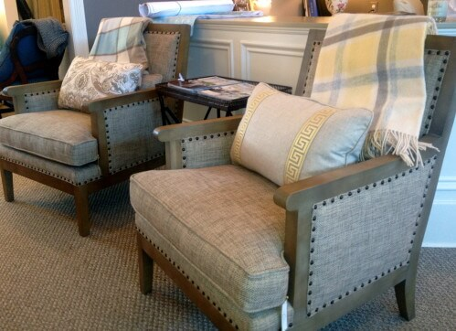 This set of Bernhardt chairs accented with nailhead trim are another major find in Rosalind's showroom.