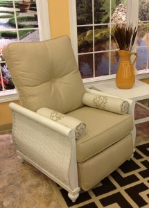 The classic Castelle cast aluminum outdoor recliner offers artisan craftsmanship, rust and weatherproof construction and a richness and quality evidenced by the hand finishing and polishing, the woven aluminum side panels, extraordinary upholstery detail and outstanding warranty.
