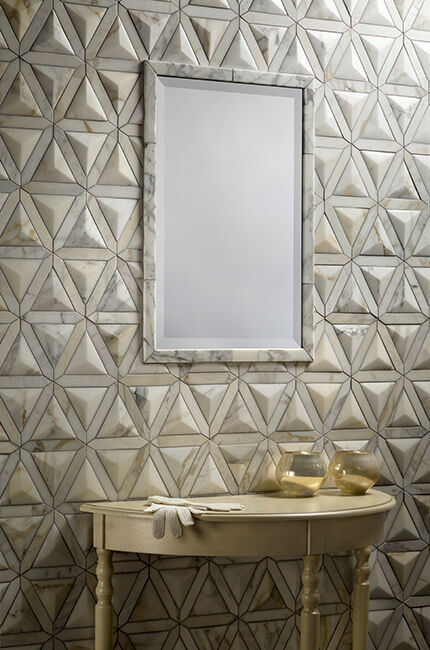 Duomo Calacatta Gold Polished Stone Dimensional Mosaic by Artistic Tile from Santarossa Mosaic & Tile Co., suite 117 at IDC