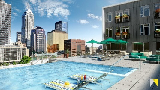 A rendering of the rooftop pool and lounge area from artistryindy.com