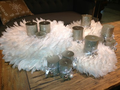 Candles and feather wreaths from Holder Mattress