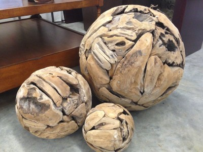 Hand-crafted teak root spheres from the Trade Connection