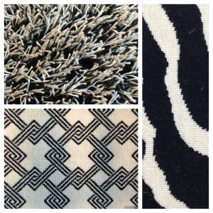 black and white rugs from Jack Laurie