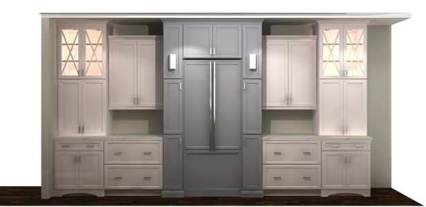 Kitchen cabinetry rendering by The Affordable Companies.