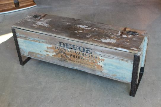 Antique Devoe Paint hinged box coffee table with metal welded legs.