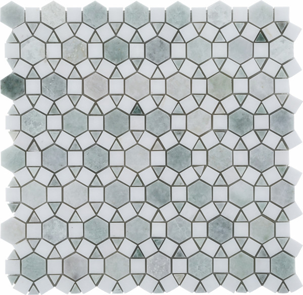 Ming Green & Thassos White Tile Flooring from Jack Laurie Home Floor Designs