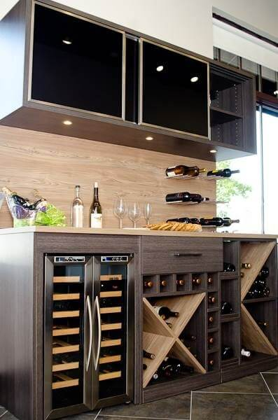 Wine bar display located in the Carmel California Closets showroom.