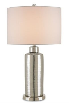 Nickel-plated porcelain lamp base.