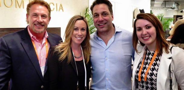 Designer Thom Filicia visits with the Gary Nance Collection team at High Point Market.