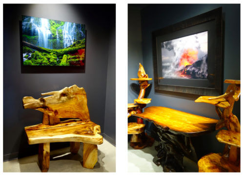 Fine art photography and eco-friendly furniture paired with fine art photography at MARTIN Gallery of Fine Art.
