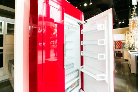 Red lacquer Thermador refrigerator
