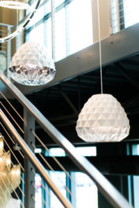 3-D geometric pattern pendant lighting from Ferguson, suite 101 at IDC.
