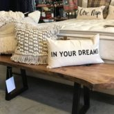 boho pillows rustic bench