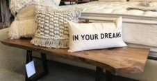 boho pillows rustic bench